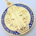 Gold-Tone-Red-and-Blue-Enamel-Saint-Benedict-Medal-Pendant-1-14-Inch-0-0