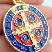 Gold-Tone-Red-and-Blue-Enamel-Saint-Benedict-Medal-Pendant-1-14-Inch-0-1