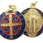 Gold-Tone-Red-and-Blue-Enamel-Saint-Benedict-Medal-Pendant-1-14-Inch-0