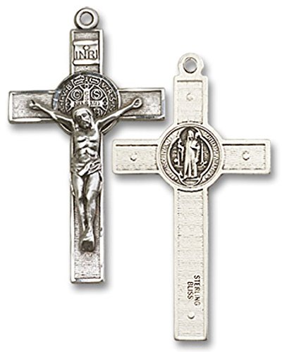 Mens sterling silver st benedict crucifix pendant 0 0 saint mens sterling silver st benedict crucifix pendant 0 0 aloadofball Image collections